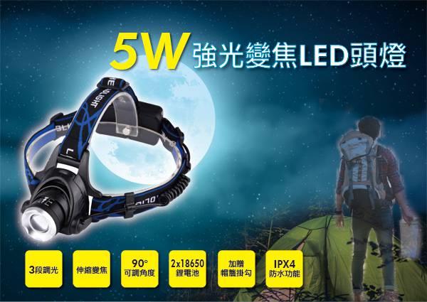 3段式強光變焦LED頭燈