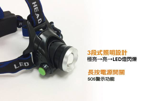 5W頭戴3段式強光變焦LED頭燈