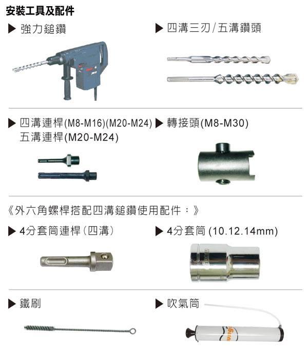 結構補強化學安卡錨栓安裝配件及工具