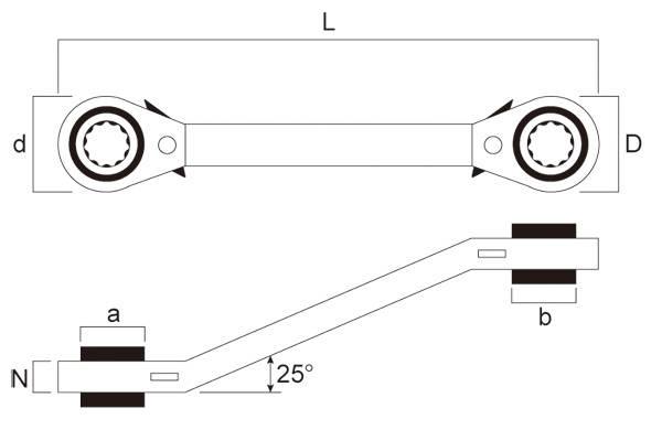 25度斜角梅花棘輪扳手 棘輪梅花扳手 齒輪扳手 活動式梅花棘輪扳手 雙向棘輪梅花扳手 台灣製造